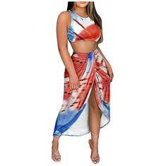 Imagem de Vestido longo colado ao corpo com 2 peças, saia midi para o verão floral e praia, , XXG