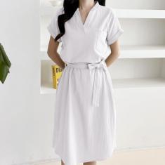 Imagem de Zanzea feminino casual de algodão longo minivestido camisa escritório manga curta decote em V Vestido de verão sólido  4XL