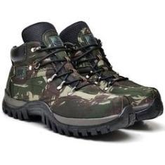 Imagem de Bota Adventure Tchwm Shoes Masculina Couro Camuflado Militar Verde