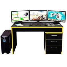 Imagem de Mesa Escrivaninha Gamer DRX 500 Pequim para Computador com 3 Gavetas Yellow e Black Fosco - AM Decor