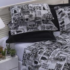 Imagem de Kit Jogo de Cama Queen Size 03 Peças com Fronha e Elástico em Percal 160 Fios Estampado Londres