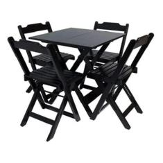 Imagem de Mesa De Madeira Bar Dobrável 70 x 70 4 Cadeiras ()