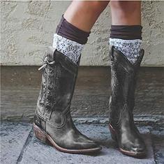 Imagem de PLAYH Botas de caubói femininas de PU pontiaguda de bico fino Botas de cano médio com salto grosso Botas de cano médio Botas de equitação (Cor: , Tamanho: 37)