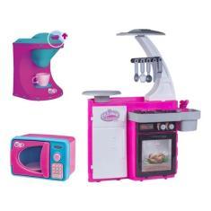 Imagem de Kit Cozinha Infantil C/ Microondas Cafeteira Fogão Geladeira