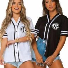 Imagem de Blusão Camisa Camisão Feminina Baseball Com Botões Nyc