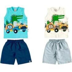 Imagem de Kit Zig Zig Zaa: 2 Camisetas Regata e 2 Bermudas - Em Cotton e Sarja - Tamanho 02 - Bege//