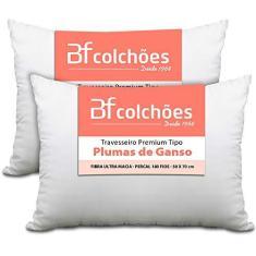 Imagem de Kit 2 Travesseiro Premium de Fibra conforto extra tipo Pluma Pena de Ganso Ecológica 50x70cm BF Colchões