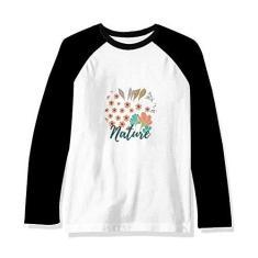 Imagem de DIYthinker Camiseta raglan de manga comprida com tinta de planta laranja, Multicor, M