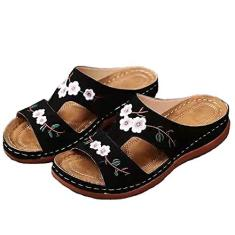 Imagem de KCRPM Sandália de anabela vintage com bordado floral, sandália feminina confortável para praia, sapatos de caminhada com recorte no verão (, 38)