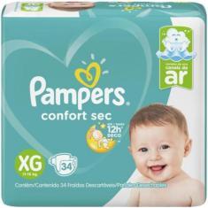Fralda Pampers Confort Sec Tamanho XG 34 Unidades Peso Indicado 11 - 15kg