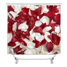 Imagem de Cortina de chuveiro para decoração de casa, decoração de banheiro listrada, cortina de chuveiro com tema Simplicity, fibra de poliéster à prova d'água, incluindo gancho 183 x 183 cm