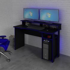 Imagem de Mesa Para Computador Desk Gamer Me4153 Preto E Azul