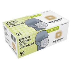 Máscara Tripla Descartável Clipe Nasal 50 und Descarpack