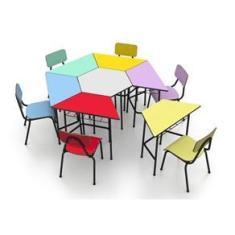 Imagem de Conjunto Escolar Sextavado Infantil Colorido