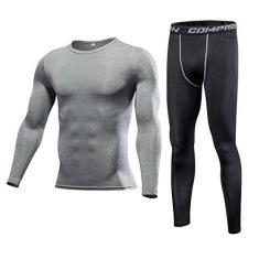 Imagem de 1Bests Camiseta masculina de compressão, esportiva, manga comprida, elástica, de secagem rápida, conjunto Elite, Linho puro , XG
