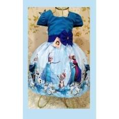 Imagem de Vestido Infantil tema Princesa Gelo Laço