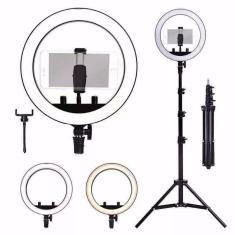 Imagem de hing light led 26cm tripe 2 metros iluminador luz iluminacao anel fotografia video