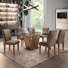 Imagem de Conjunto Sala De Jantar Mesa Tampo De Vidro 6 Cadeiras Classic Cel Móveis Chocolate/Animale Marrom 52
