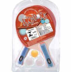 Kit Tênis de mesa Ping Pong 2 Raquete e 3 Bolas