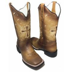 Imagem de Bota Texana Feminina Cruz Camel Bico Quadrado