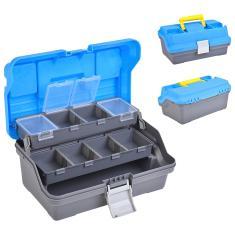 Imagem de 3 Camada Pesqueiro Caixa com removível divisores Pesca armazenamento caso Isca Blue Box