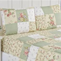 Imagem de Jogo de Cama Lençol Ayla Casal Queen Tecido Microfibra 04 Peças Patchwork - Verde Floral