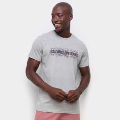 Imagem de Camiseta Calvin Klein Logo Listras Masculina