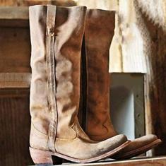 Imagem de PLAYH Bota feminina estilo caubói ocidental bota de cano curto retrô pontiaguda feminina com zíper lateral e salto médio grosso botas Martin (cor: , tamanho: 36)