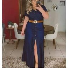 Imagem de Vestido Plus Size Jeans Moda Evangelica Vestido Longo