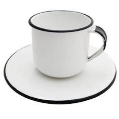 Caneca Esmaltada Xícara Com Pires Para Chá Café 180ml Branco