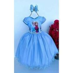 Imagem de Vestido Infantil Luxo tema Princesa Gelo