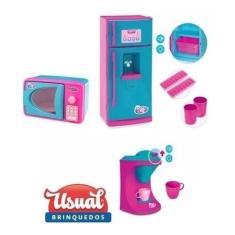 Imagem de Kit Cozinha Infantil Geladeira Cafeteira Microondas