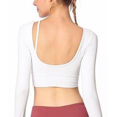 Imagem de Camisetas de treino femininas de manga comprida com sutiã embutido sexy com tiras nas costas para atividades físicas, regatas de compressão para ioga, , P