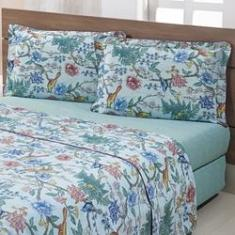 Imagem de Jogo De Cama Queen Sakura Pássaros Verde Percal 180 Fios 4 Peças – Casa & Conforto