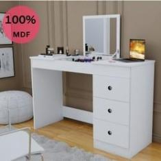 Imagem de Penteadeira Escrivaninha Camarim Iza com Espelho e 3 Gavetas 100% MDF Branca – Incasa