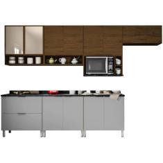 Imagem de Cozinha Completa 2 Gavetas 11 Portas com vidro Rubi Bartira
