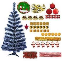 Árvore De Natal Nevada 90cm 90 Galhos Decorada 79 Enfeites