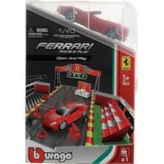 Imagem de Brinquedo Playset Colecionável Ferrari Race E Play Open And Play - Acompanha Miniatura Mini Carro Carrinho Conversível  Escala 1:43 - Burago