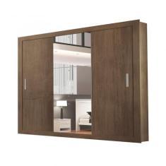 Guarda-Roupa Casal 3 Portas 4 Gavetas com Espelho Betha Siena Móveis
