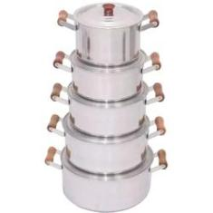 Imagem de Jogo Kit 5 Panelas Alumínio Batido Cabo Marfim - Plug Lar