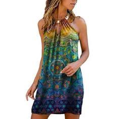 Imagem de STKOOBQ Vestidos de verão para mulheres com bolsos, moda feminina, casual, verão, com gola metálica, estampado, sem alças, , XXG