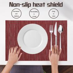 Imagem de Tapete de mesa de cor sólida de grão de bambu antiderrapante estilo europeu com isolamento térmico