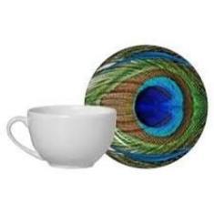 Imagem de Xícara Chá Com Piresem Cerâmica Pavâo Real - 1un