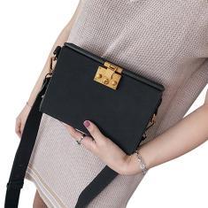 Imagem de Bolsa com aba pequena de couro fosco com fechadura bolsa quadrada mensageiro feminino