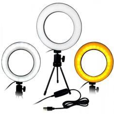 Imagem de Ring Light Completo Mini Ring Light Com Tripe Iluminador De Led Portátil De 16cm Para Maquiagem