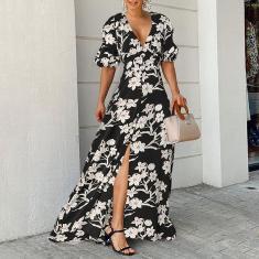 Imagem de Vestido feminino elegante maxi estampado floral boêmio Puff manga curta decote em V profundo festa casual vestidos longos plus size  xl