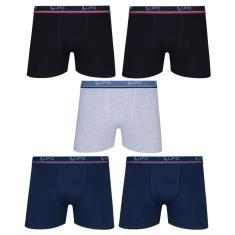 Imagem de Kit Com 5 Cuecas Boxer Box Lupo Em Algodao Confortavel Plus Size Tamanhos Extra Grande Até O 64