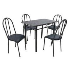 Imagem de Conjunto de Mesa com 4 Cadeiras Genebra Courino  e Petróleo
