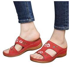 Imagem de KCRPM Sandália de anabela vintage com bordado floral, sandália feminina confortável para praia, sapatos de caminhada com recorte no verão (, 35)