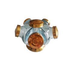 Imagem de Mini Baleiro Vidro Bomboniere Giratório Alumínio Cobre